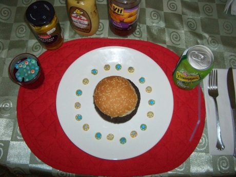 My Dad's Lunch: Blood Pudding Burger and Jello Dessert