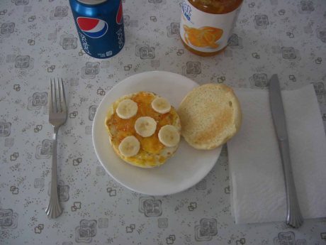 Banana Egg Burger with Marmalade and Pepsi
