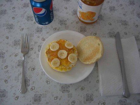 Banana Egg Burger with Marmalade and Pepsi