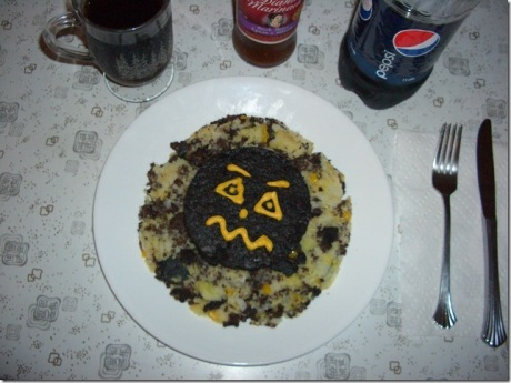 Monster Hash (blood pudding  and corn hash)