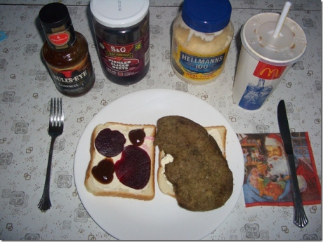 Liver and Beet Sandwich with a McDonalds Coke