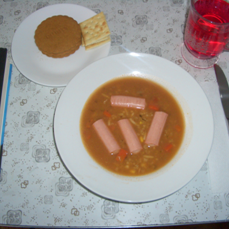 Vienna Sausage Soup with Cracker and Ginger Cookie